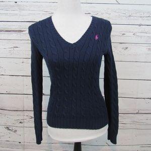 Ralph Lauren Sport blue v-neck cable knit sweater